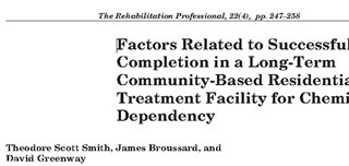 Factors Related to Successful Completion in a Long-Term Community-Based Residential Treatment Facility for Chemical Dependency