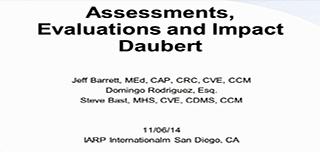 Assessments, Evaluations and Impact: Daubert