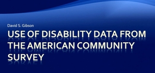 Use of Disability Data from the American Community Survey